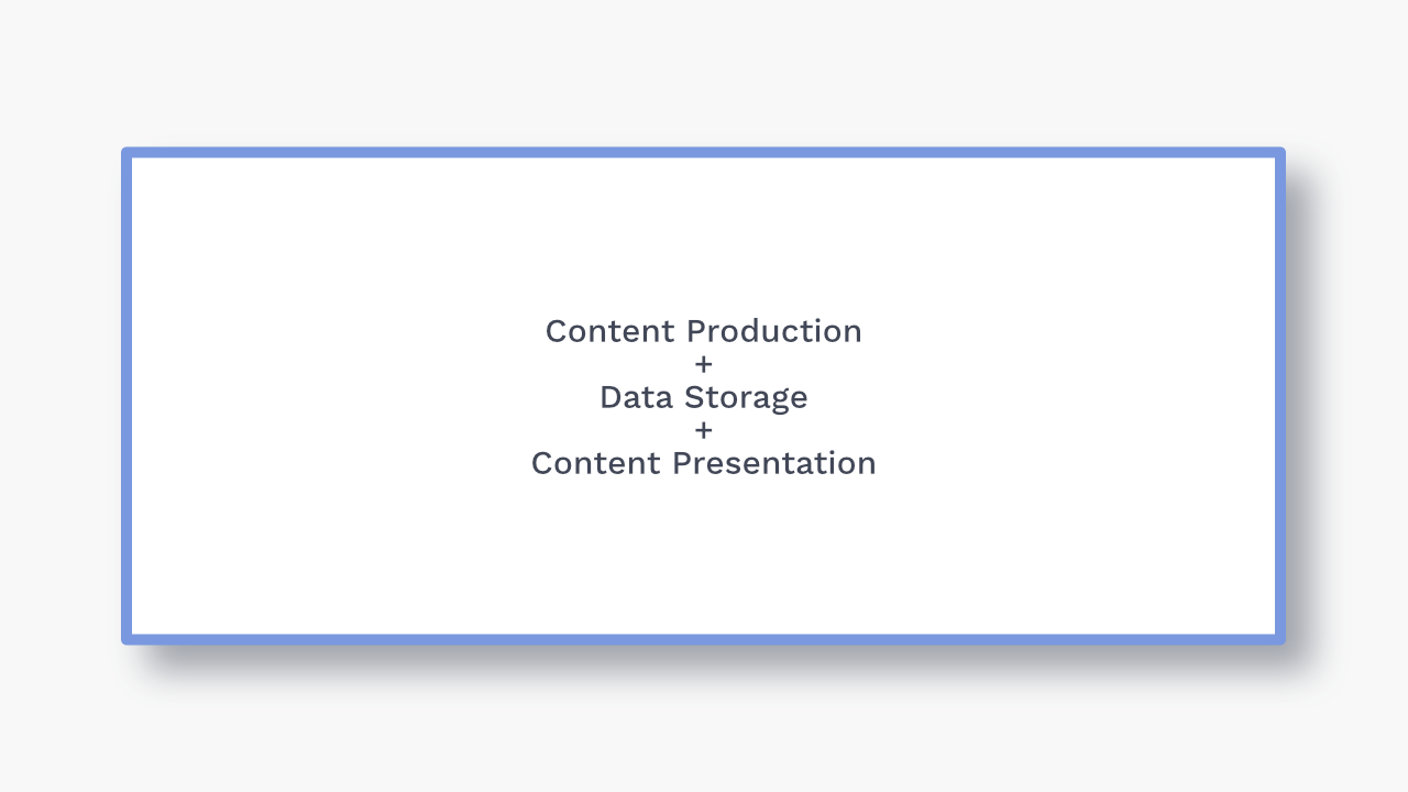 Content production, data storage, and content presentation all together.