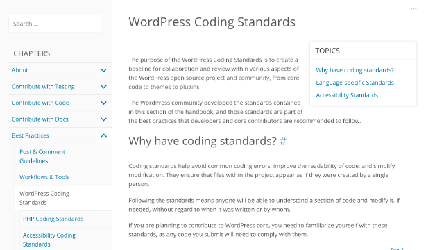 An article about the coding standards required by WordPress.