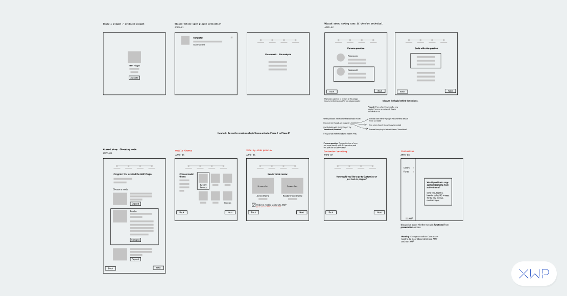 Wireframe concepts of the onboarding process.